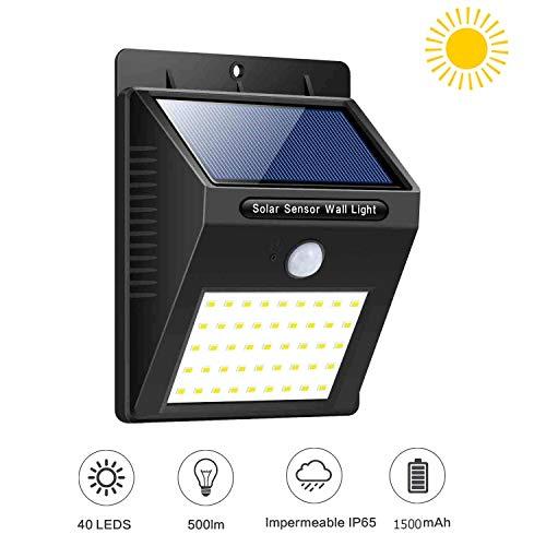 XINYUKEJIk - Luces solares para exteriores, 3 modos, 40 luces LED, 1800 mAh, luz solar, impermeable, sensor de movimiento para exteriores, patio, terraza, patio, luces solares