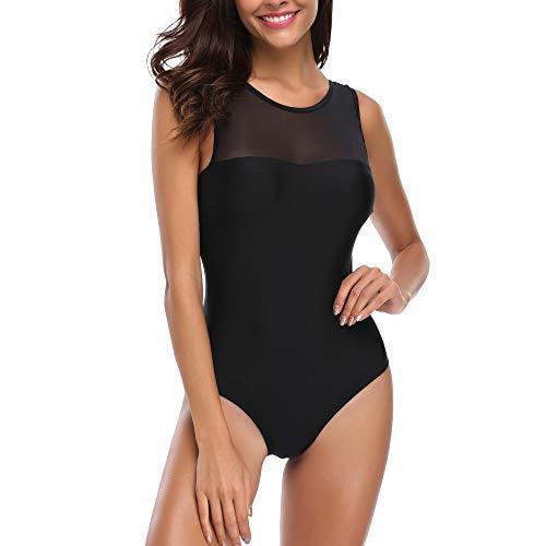 Sidiou Group Einteiliger Badeanzug Damen Mesh Drucken Bikini Badeanzug für Frauen Badeanzüge Monokini Badeanzug Bademode Dreieck Einteiliger Badebekleidung (Tiefes Schwarz, Large)