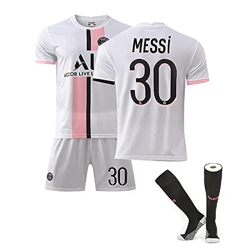 Wan&ya 2021 Paris New Messi Jersey Número 30 Home Court Football Kit Camiseta y Calcetines Conjunto Combinado de Ropa Deportiva Uniforme de fútbol conmemorativo de fútbol,Blanco,Adult~L