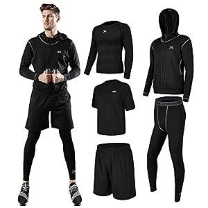 (シーヤ) Seeya コンプレッションウェア セット スポーツウェア メンズ 長袖 半袖 冬 上下 5点セット6カラー トレーニング ランニング 吸汗 速乾 (M, 宽松_黑)