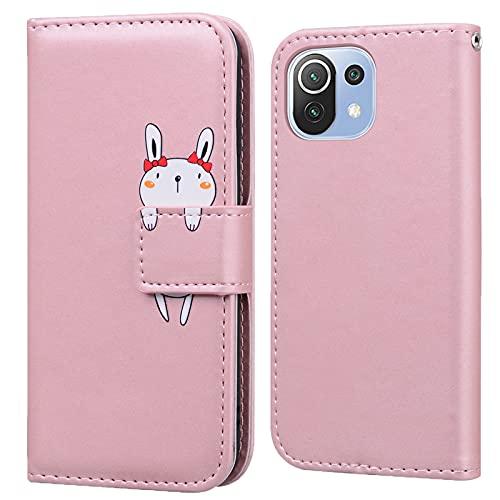 Funda para Xiaomi Mi 11 Lite 5G / 4G Carcasa con Tapa Cuero PU Flip Case Móvil Cartera Magnético Cover con Función de Soporte para Xiaomi Mi 11 Lite, Oro Rosa