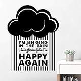 Canto en la lluvia habitaciones engomadas de la pared de la nube de dibujos animados divertido de la pared del arte Calcomanías Para Niños Habitación Sala Decoración VA8606N A, Negro