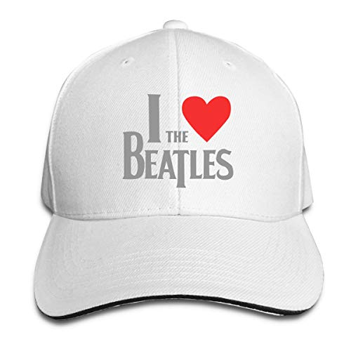 Verstellbar Damen Herren I Love The Beatles Logo White Baseball Hat Cap Baseballcap Kappe Flatbrim Mütze Für Jungen Mädchen