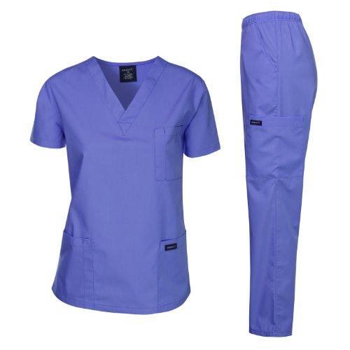 Dagacci Medical Uniform Woman and Man Scrub Set Unisex Medical Scrub Top and Pant, CEIL Blue, M