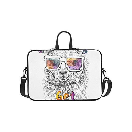 Lama Alpaka Brillen Hipster Stil Zeichnung Aktentasche Laptoptasche Messenger Schulter Arbeitstasche Crossbody Handtasche Für Geschäftsreisen