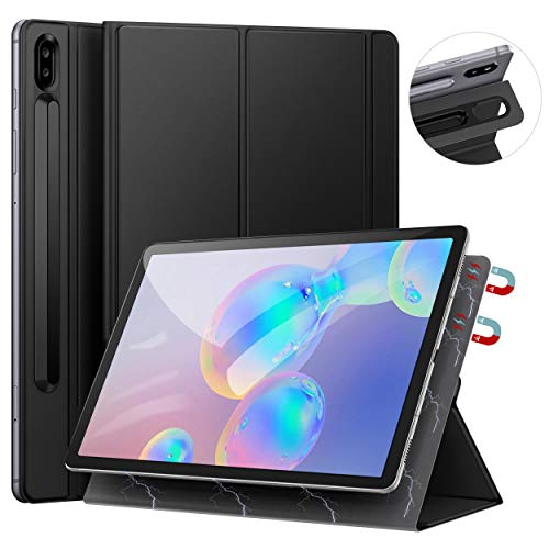 Ztotops Hülle für Samsung Galaxy Tab S6 10.5, Ultra dünn Smart Magnetische Abdeckung, Mit S Pen Halter und Auto Schlaf/Wach Funktion, für Samsung Galaxy Tab S6 10.5 Zoll 2019 (SM-T860/T865), Schwarz
