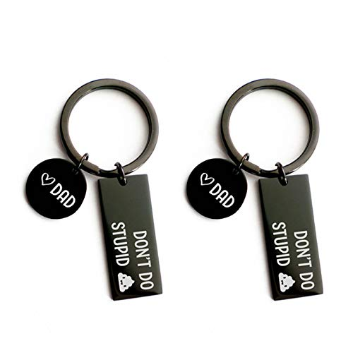 Haonan - Don't Do Stupid Shit from Mom Black Keychains Gift for Son Daughter for Women Bag Pendant Jewelry Trinket Men's Car Key