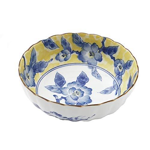 ZH Soupe à soupe de céréales Bol à ramen de style japonais Modèle de couleur jaune Céramique Bordure profonde ondulée (taille : 6.8inches)