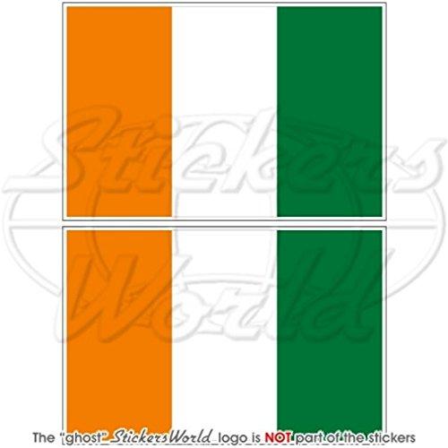 Côte d'Ivoire drapeau Cote d'Ivoire Afrique 10,2 cm (100 mm) en vinyle Bumper Stickers, Stickers x2