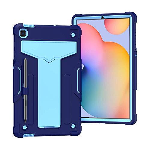 QYiD Funda para Galaxy Tab S6 Lite 10.4' (SM-P610/SM-P615), 3 en 1 Híbrida Carcasa a Prueba de Golpes Protector Case con Soporte & Portalápices para Samsung Tab S6 Lite 10.4', Azul Marino/Azul