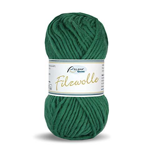 Rellana Filzwolle uni,100% Schurwolle zum filzen in der Waschmaschine, 14 tolle Farben (5 grün)