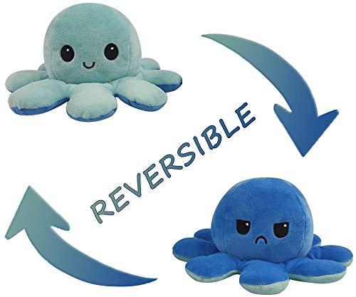 Topways Peluche Polpo Reversibile, Reversible Octopus Soft Double-Sided Flip Octopus Plush Toy, Regali Giocattolo creativi per Bambini, Ragazze, Ragazzi, Amici (Azzurro & Blu)