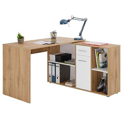 IDIMEX Escritorio de esquina Carmen Mesa con mueble de almacenaje integrado y modular con 4 baldas 1 puerta y 1 cajón, decoración roble salvaje y blanco mate