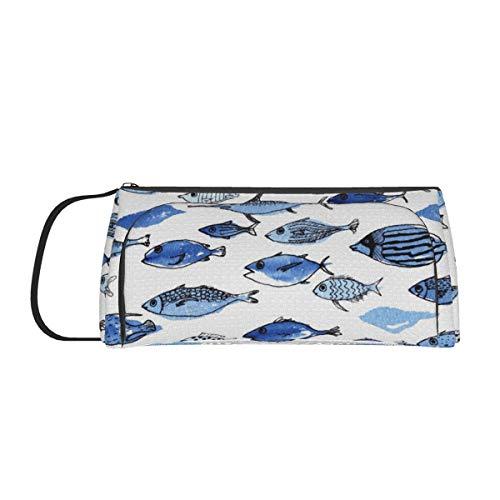 Aquarium-Aufbewahrungstasche aus Segeltuch, blaue Fische, großes Fassungsvermögen, für Stifte, Stifte, einfache Schreibwaren-Tasche, Halter für Studenten, Teenager, Mädchen, Erwachsene, Büro, Frauen