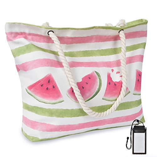WERNNSAI Wassermelone Strandtasche -Extra Groß Segeltuch Handtasche mit Taschen Reißverschluss Seil Griffe für Frauen Mädchen Sommer Strand Schwimmbad Fitnessstudio