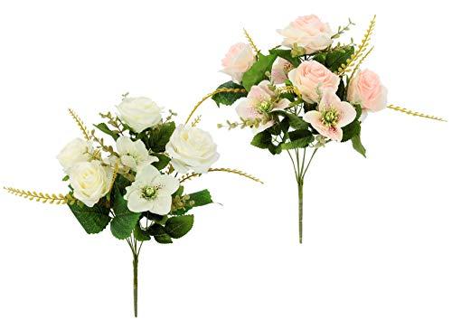 Flair Flower Künstlicher Blumen-Strauß Rosen/Christrosen Weihnachtsdeko Tischdeko Gefälschte Blumendeko Mittelstücke Bouquet Seidenblumen 2er Set, rosa/weiß, 48x30x30 cm
