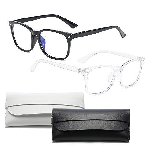 2 Stücke Blaulicht Filter Bildschirmbrille, Blue Light Glasses, Unisex Blaulichtfilter Brille, Fall mit zwei Gläsern, Anti müde Augen Homeoffice, Schwarz, Transparent