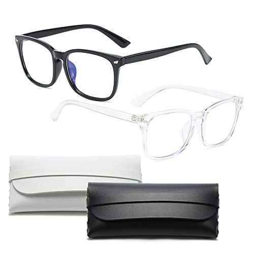 IWILCS 2 Stücke Blaulicht Filter Bildschirmbrille, Blue Light Glasses, Unisex Blaulichtfilter Brille, Fall mit zwei Gläsern, Anti müde Augen Homeoffice, Schwarz, Transparent