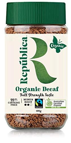 República Organic Decaf Instant Coffee, Café Instantáneo, Certified Organic, Fair Trade, Freeze Dried Instant Coffee - 100% Arabica, Decaffeinated Medium Roast (100g/3.53oz Jar)