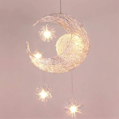 Lustre Suspension Lune étoiles LED Plafonnier Luminaire Aluminium avec 5 Ampoules pour Enfants Chambre (lumière blanche)