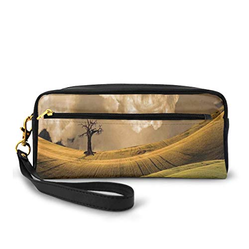 Pencil Case Pen Bag Pouch Stationary,Serene Landscape with Dramatic Sky and Single Tree on The Hill Image Home Decor,Small Makeup Bag Coin Purse