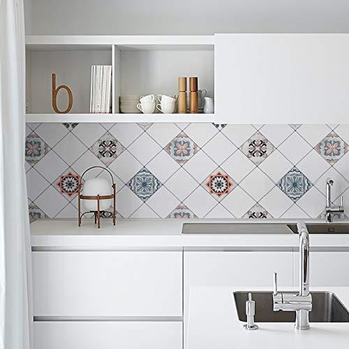 Freshtour Selbstklebend Fliesenaufkleber, 60 x 500 cm PVC Küchenrückwand für Küche, Bad und Badezimmer, Tapeten, Wandfliesen Aufkleber, Wandaufkleber Wandsticker