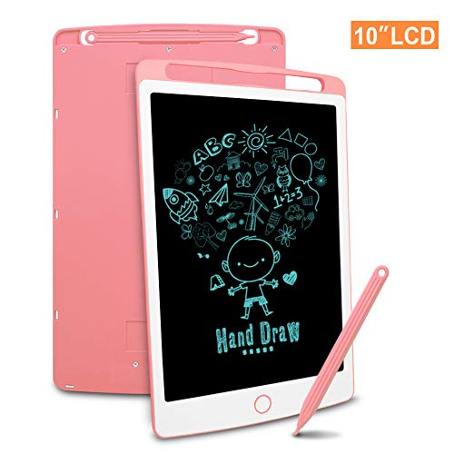 Richgv LCD Writing Tablet mit Anti-Clearance Funktion und Stift, Digital Ewriter Grafiktabletts Mini Schreibtafel Papierlos Notepad Doodle Board (10 Zoll, Rosa)