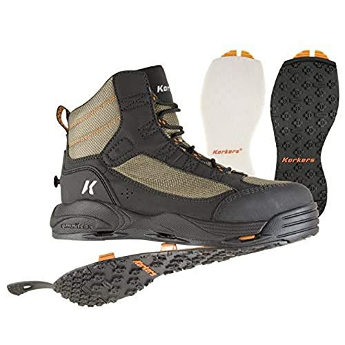 Korkers Greenback Wading Boot with Felt & Kling-On Soles, Dried Herb/Black , Size 14 FB4810-14