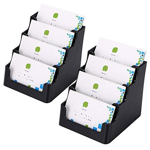 Hipiwe - Espositore per biglietti da visita, in acrilico, 2 pezzi, trasparente Black,4 Pockets,2 Pack