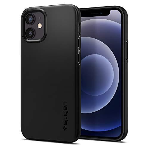 Spigen iPhone 12 Mini ケース シン・フィット 5.4インチ マット仕上げ Qi充電対応 ブラック ACS01739