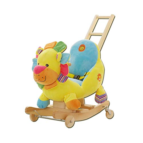 Rocking Chair Rocking Horse Wooden, Plush Rocking Horse Toy, Colorful Lion Rocking Horse for Baby 1-3 Years , Wooden Rocking Horse/Toddler Rocker/Baby Rocker/Child Rocking Horse Gift/Boy&Girl Toy Rock