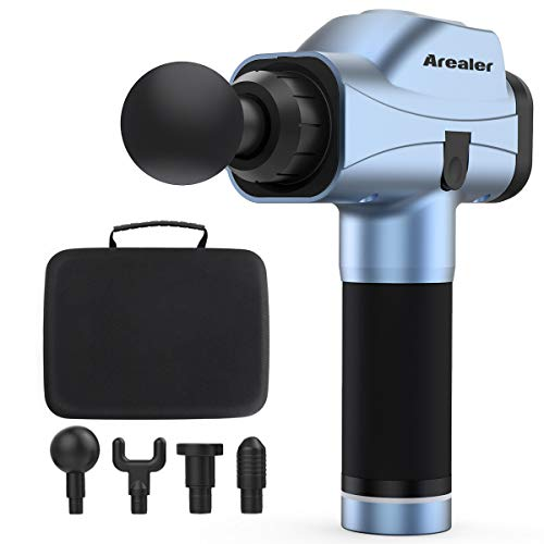 Massage Gun Deep Tissue Percussion Massager for Muscle Pain, Arealer Portable Massage Gun Handheld with 4 Massage Heads 6 Speed Modes, Rechargeable Quiet Machine