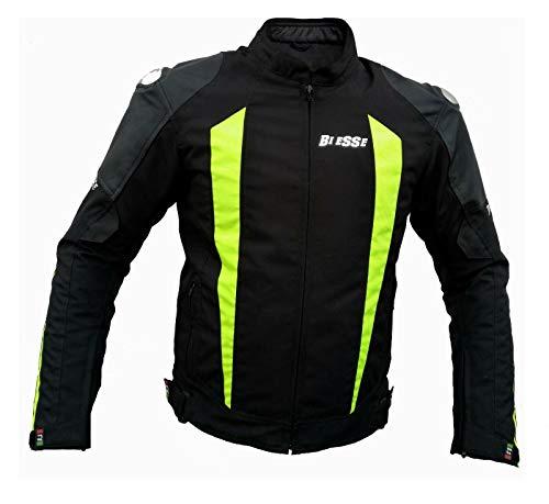 BS MOTO - Giacca da MOTO in pelle impermeabile, Racing e sport, completo di protezioni CE (Nero / Giallo Fluo, L)