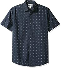 Amazon Essentials Men's Regular-Fit Short-Sleeve Print Shirt, Anchor, Large