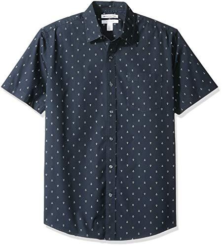 Amazon Essentials - Camiseta de manga corta con estampado para hombre, Anchor, US S (EU S)