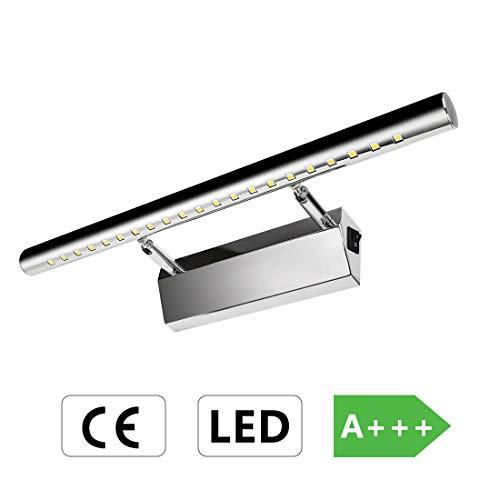 LED Spiegellampe mit Schalter AURUZA 5W 40cm LED Spiegelleuchte 180° Einstellbar Badlampe Spiegel Badleuchte aus Edelstahl IP44 Kaltweiß(6000-6500K)