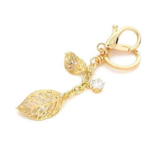 GNLIAN HUAHUA Schlüsselanhänger. Legierung Goldblätter Schlüsselanhänger Pflanzen-Frauen-Beutel-Schlüsselring-Zubehör