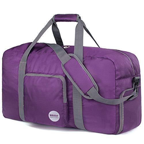 Faltbare Reisetasche 60-100L Superleichte Reisetasche für Gepäck Sport Fitness Wasserdichtes Nylon von WANDF (lila, 80L)