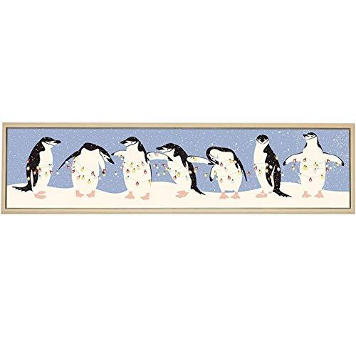 Moderne einfache Cartoon Tier Pinguin Laterne Schneeflocke Leinwand Malerei Kinderzimmer Schlafzimmer Home Dekorative Malerei 30x120cmx1 ungerahmt