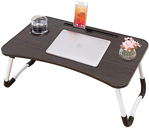 Laptop Bed Table Foldable Portable Lap Standing Desk with Cup Slot Notebook Stand Breakfast Bed Tray Book Holder for Sofa Bed Terrace Balcony Garden-A
