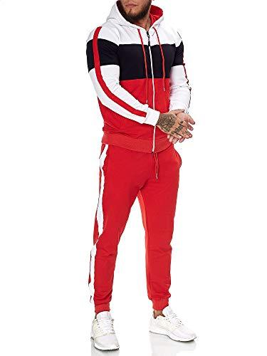 OneRedox | Herren Trainingsanzug | Jogginganzug | Sportanzug | Jogging Anzug | Hoodie-Sporthose | Jogging-Anzug | Trainings-Anzug | Jogging-Hose | Modell JG-1082 Weiss-Schwarz-Rot XXL