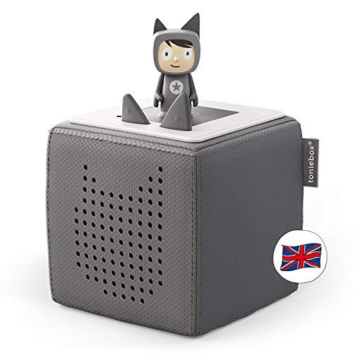 Tonies Starterset: Toniebox, grau + 1 Creative-Tonie - Hörbuch-Player und Musik-Player für Kinder - Spielzeug für Jungen und Mädchen im Alter von 3-7 Jahren