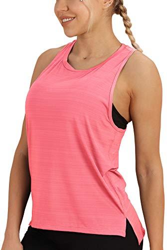 icyzone Damen Sport Tank Top Yoga Fitness Ärmellos Shirts (L, Neon Pink)