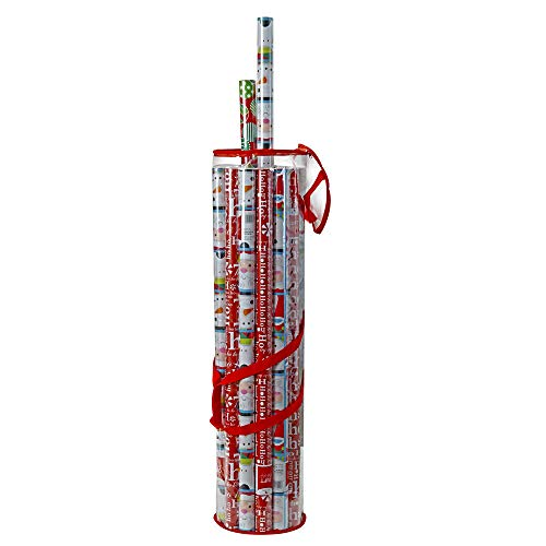 ProPik Wrapping Paper Organizer Storage Bag for All Your Gift Wrap & Ribbons, Fits Long 40 Inch Rolls, Hold Up to 24 Rolls, Heavy Duty Clear PVC Bag with Handles (Red & Clear)