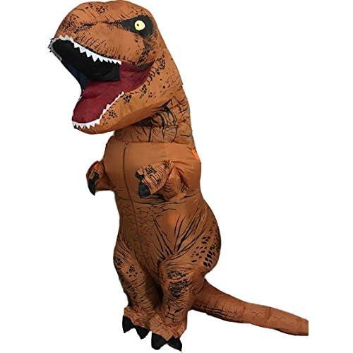 Jokeshop.com Adult Brown Inflatable T-Rex Fancy Dress Costume Blow Up Dinosaur Costume Dino Jumpsuit