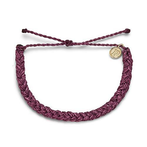 Pura Vida Dark Lilac Braided Bracelet - 100% Waterproof, Adjustable Band - Plated Brand Charm
