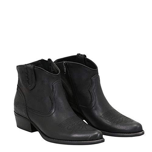 Felmini - Damen Schuhe - Verlieben West C360 - Cowboy & Biker Stiefeletten - Echtes Leder - Schwarz - 39 EU Size