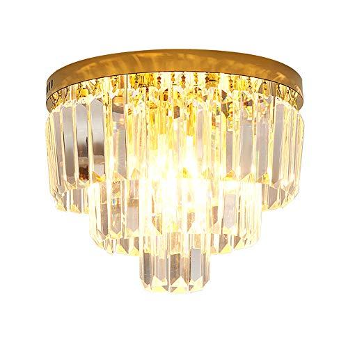 Modern Kristall Regentropfen Kronleuchter Beleuchtung,Runde Chrome Flush-halterung E14 Deckenleuchte Für Zimmerdekor Flur Esszimmer Brennpunkt Elegante Leuchten Pendelleuchte Schat-Golden 50 * 24cm