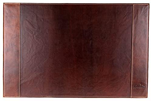 Alpenleder Schreibtischunterlage TIROL – Rutschfeste Echt Leder Tischmatte – Braune, handgefertigte XXL Leder Schreibunterlage mit Dokumentenfach (68 x 45cm, Brandy)