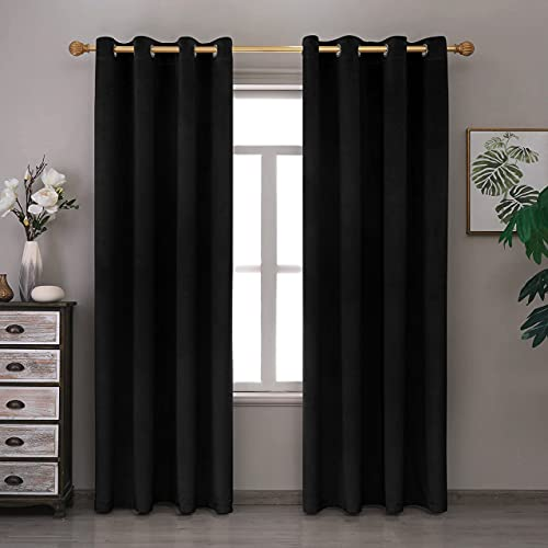 Lexrowen Black Blackout Velvet Curtains 96 Inches Long Window Curtain Treatment for Bedroom Living Room Decor Farmhouse Grommets Curtains Thermal Insulated Velvet Drapes Set of 1 Panel